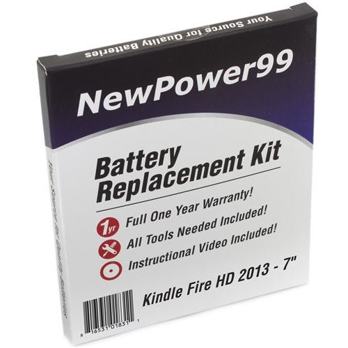"Amazon Kindle Fire HD 7"" 2013 Battery Replacement Kit with Tools, Video Instructions, Extended Life Battery and Full One Year Warranty - NewPower99 CANADA"