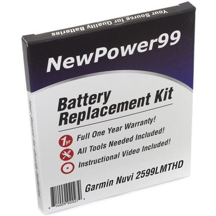 Garmin Nuvi 2599LMTHD Battery Replacement Kit with Tools, Video Instructions, Extended Life Battery and Full One Year Warranty - NewPower99 CANADA