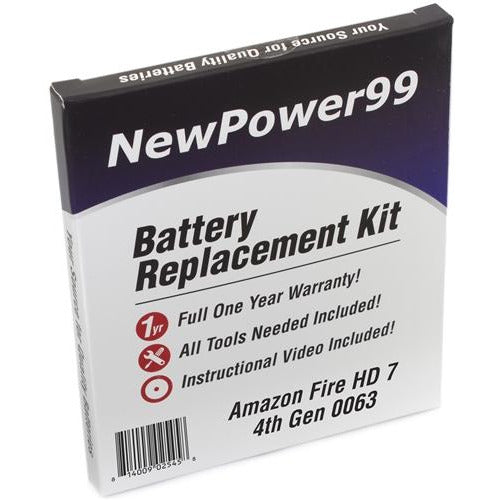 "Amazon Fire HD 7"" 4th Generation 0063 Battery Replacement Kit with Tools, Video Instructions, Extended Life Battery and Full One Year Warranty - NewPower99 CANADA"