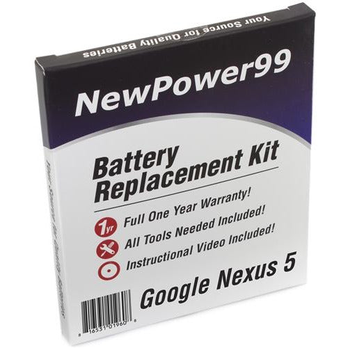 Google Nexus 5 Battery Replacement Kit with Tools, Video Instructions, Extended Life Battery and Full One Year Warranty - NewPower99 CANADA