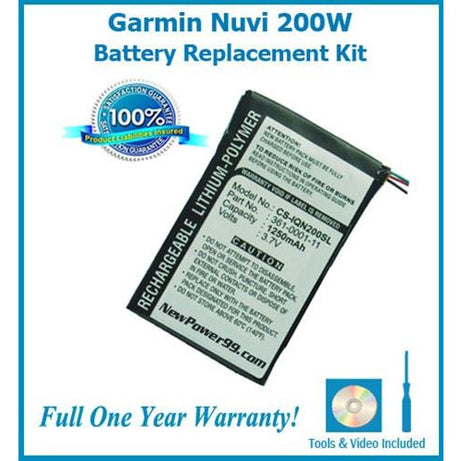 Garmin Nuvi 200w Battery Replacement Kit with Tools, Video Instructions, Extended Life Battery and Full One Year Warranty - NewPower99 CANADA