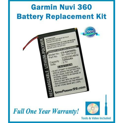 Garmin Nuvi 360 Battery Replacement Kit with Tools, Video Instructions, Extended Life Battery and Full One Year Warranty - NewPower99 CANADA