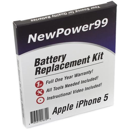Apple iPhone 5 Battery Replacement Kit with Tools, Video Instructions, Extended Life Battery and Full One Year Warranty - NewPower99 CANADA