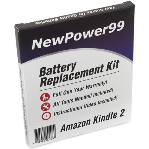 Amazon Kindle 2 Battery Replacement Kit with Tools, Video Instructions, Extended Life Battery and Full One Year Warranty - NewPower99 CANADA