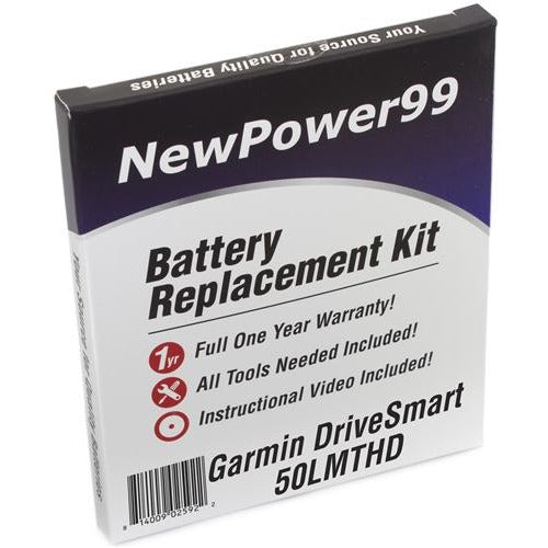 Garmin DriveSmart 50 LMTHD Battery Replacement Kit with Tools, Video Instructions, Extended Life Battery and Full One Year Warranty - NewPower99 CANADA