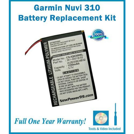 Garmin Nuvi 310 Battery Replacement Kit with Tools, Video Instructions, Extended Life Battery and Full One Year Warranty - NewPower99 CANADA