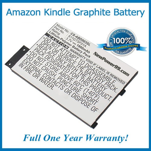 Amazon Kindle Graphite Battery Replacement Kit with Tools, Video Instructions, Extended Life Battery and Full One Year Warranty - NewPower99 CANADA