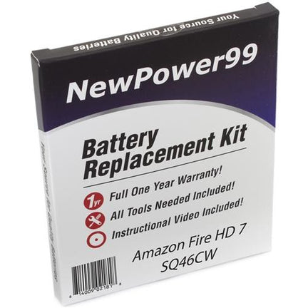 "Amazon Fire HD 7"" SQ46CW Battery Replacement Kit with Tools, Video Instructions, Extended Life Battery and Full One Year Warranty - NewPower99 CANADA"