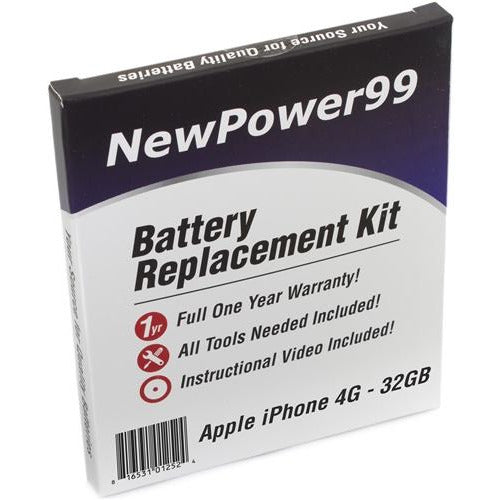Apple iPhone 4G -32GB Battery Replacement Kit with Tools, Video Instructions, Extended Life Battery and Full One Year Warranty - NewPower99 CANADA
