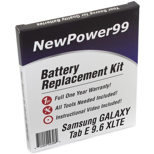 Samsung GALAXY Tab E 9.6 XLTE Battery Replacement Kit with Tools, Video Instructions, Extended Life Battery and Full One Year Warranty - NewPower99 CANADA