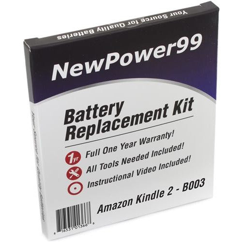 Amazon Kindle 2 - B003 Battery Replacement Kit with Tools, Video Instructions, Extended Life Battery and Full One Year Warranty - NewPower99 CANADA