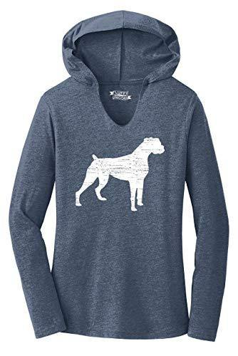Ladies Hoodie Shirt Boxer Dog Navy Frost M