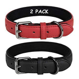 Coohom 2 Pack Genuine Leather Soft Waterproof Fabric Padded Dog Collars,Durable Adjustable Leather Pet Collars for Small Medium Large Dogs Black Red Blue Orange Yellow Brown (Large, Black+red) - K9Boxer