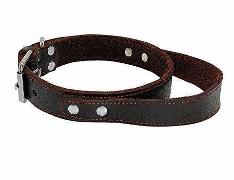 "PET ARTIST Genuine Leather Dog Collar Walking & Training Heavy Duty Dog Collar Handle Medium & Large Dogs Neck for 16-20.5''(1.1"" Width)"