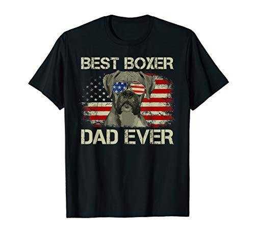 Mens Best Boxer Dad Ever Tshirt Dog Lover American Flag Gift T-Shirt - K9Boxer