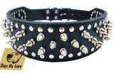 "19""-22"" Black Faux Leather Spiked Studded Dog Collar 2"" Wide, 37 Spikes 60 Studs, Pitbull, Boxer - K9Boxer"