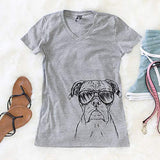 Axel The Boxer Dog Women's Triblend Modern Fit T-Shirt V-Neck 2XL Grey