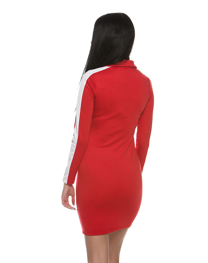 5bb03f566162 Criminal Damage Haters Bodycon Dress Red White Dress Women - CREAM SHOP.  Double click for enlarge