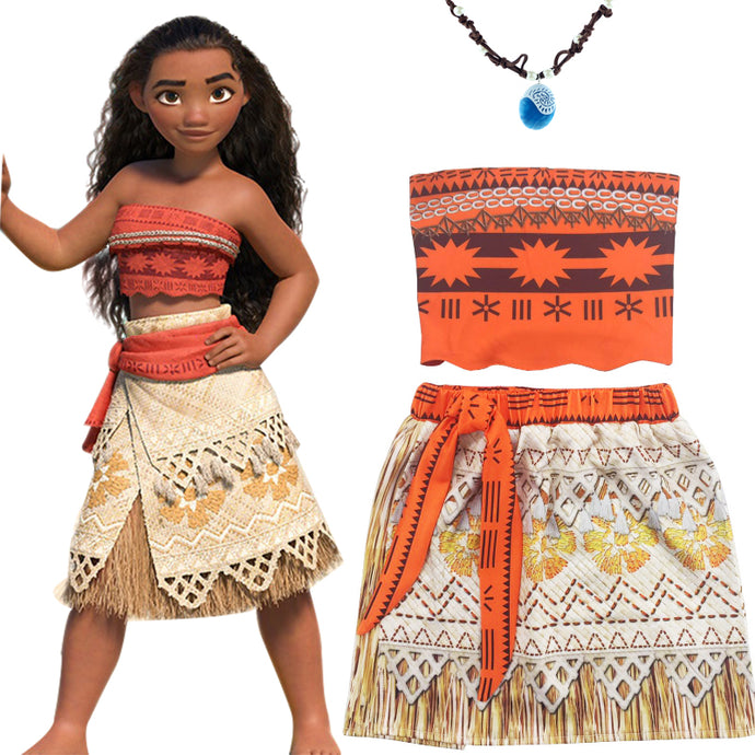 Children Moana Costume with Necklace