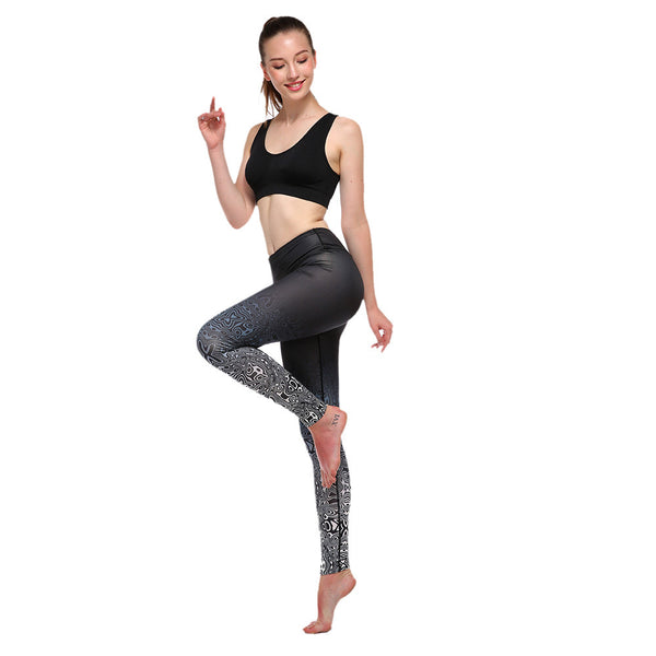 2017 New Girls Women Elastic Floral Printed Yoga Pants Gym High Waist Jogging Running Dance Leggings #E0