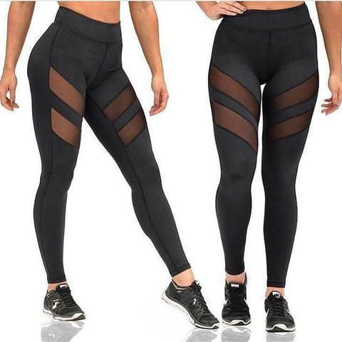 Women's Fashion Yoga Patchwork Mesh Pants Stretch Running Workout Leggings Gym Fitness Tights Two Stripes Design
