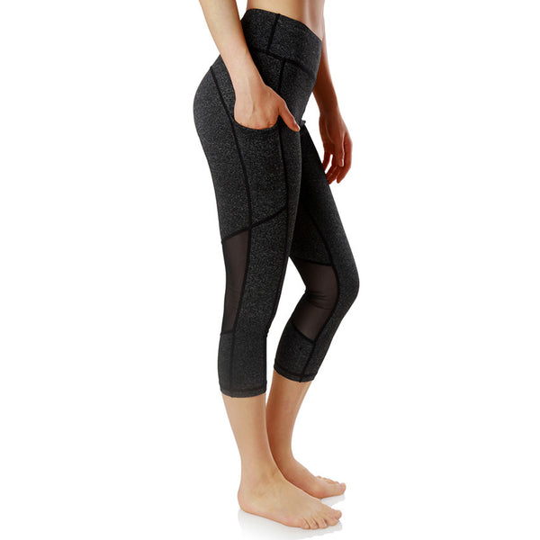 Women Elastic Waist Sport Tight Mesh Patchwork Polyester Yoga Gym