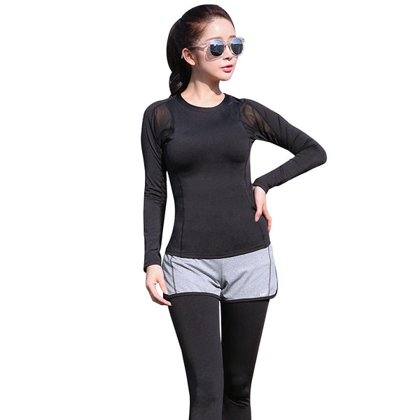 Women's High Elasticity Mesh Workout Suit Black Long Sleeves Sport Tops False 2-Piece Stretchy Black Leggings for Yoga Running Exercise(Light grey pants + black long sleeve top)