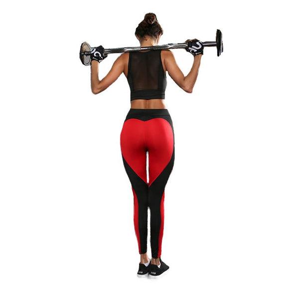 malianna Heart Pattern Mesh Splice Legging Athleisure Fitness Clothing Sportswear Elastic Push Up Leggings Women Pants Punk Rock Trousers