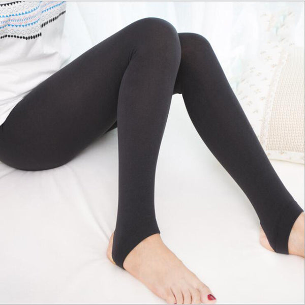 Women'S Soft Autumn Winter Warm Cotton Pants Stirrup Monolayer Brushed Pants Female Panty-Hose Leggings