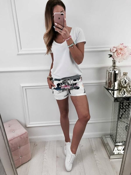 Women Floral Short Pant Sport Yoga Summer Beach Trouser Drawstring Casual Shorts