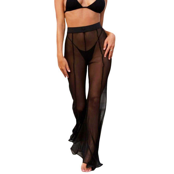 Sexy Women Sheer Mesh Wide Leg Pants Flare Pants High Waist Solid