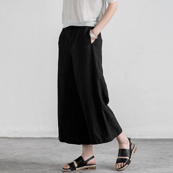 Women Summer Cotton Soft Wide Leg Pants Elastic Waist Solid Color