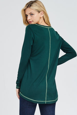 Green Long sleeve w/ Contrast Stitching