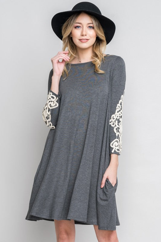 Lace sleeve swing dress