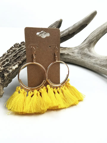 Tassel Gold Hoop Earrings