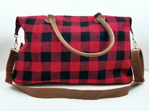 Buffalo Plaid Weekender Duffel Bag