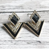 Black + Gold Triangular stud