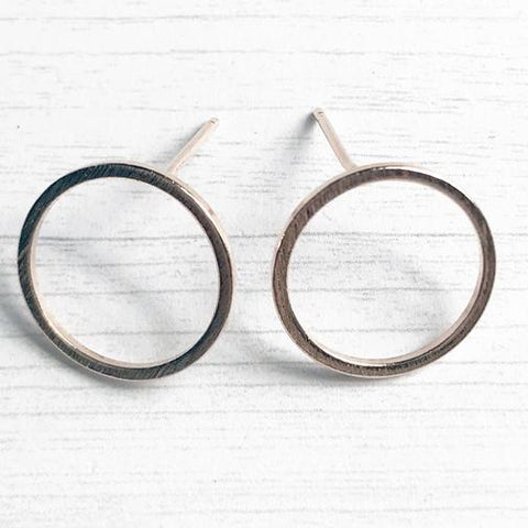 Brushed Circle Stud, rose gold