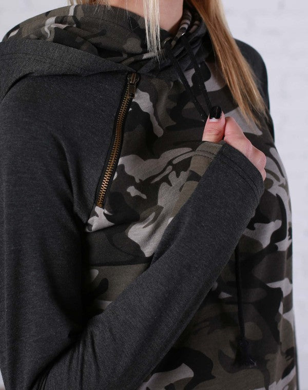 Double Hooded Sweatshirt - Camo