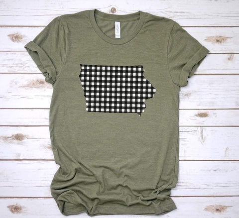 Plaid Iowa tee - olive