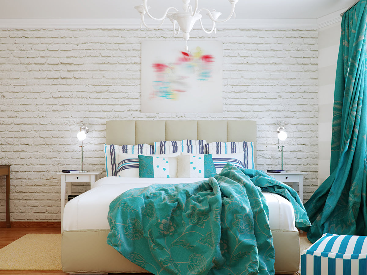 Image of a bedroom with white brick wallpaper