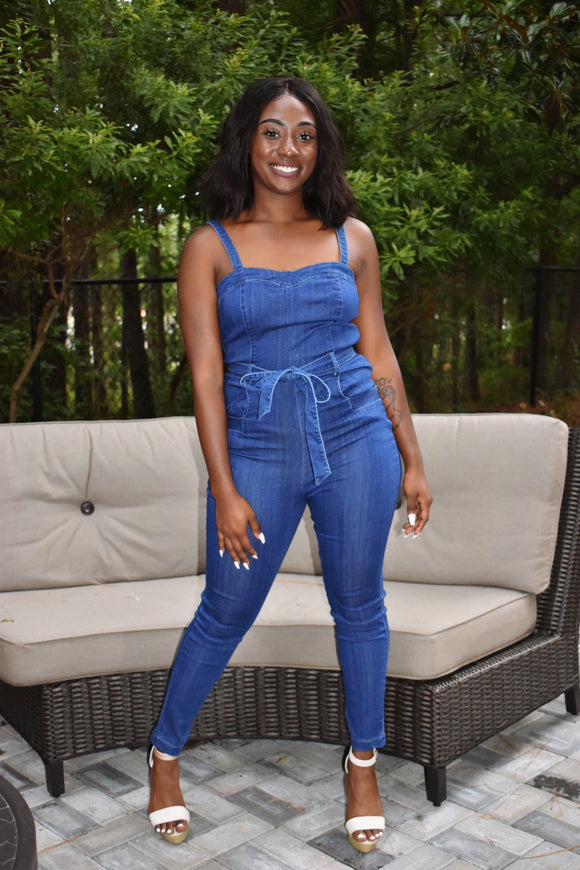 Front Tie Denim Jumpsuit