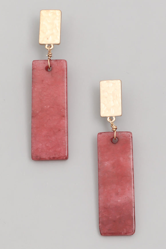 Burgundy Rectangle Stone Drop Earrings - Calisa's Closet