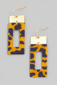 Multicolor Leopard Print Rectangle Drop Earrings - Calisa's Closet