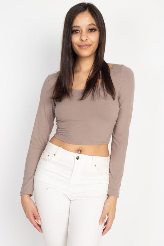 Basic Long Sleeve Crop Top