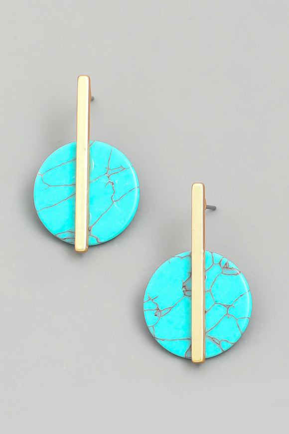 Circle Stone Drop Earrings - Calisa's Closet