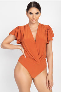 Ruched Sleeve Front Wrap Bodysuit