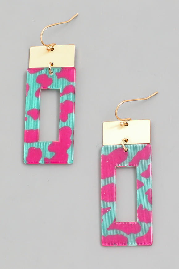 Multi-Color Leopard Print Rectangle Drop Earrings - Calisa's Closet