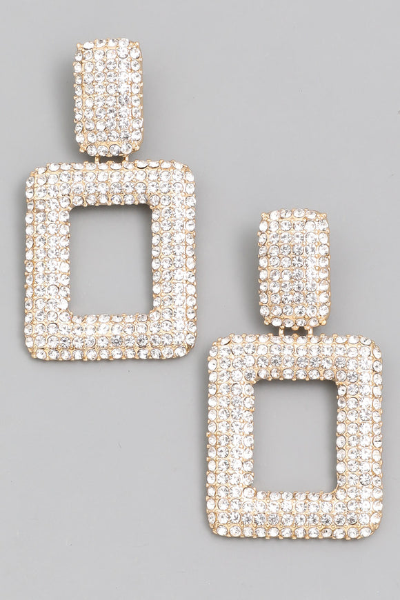 Pave Square Drop Earrings - Calisa's Closet