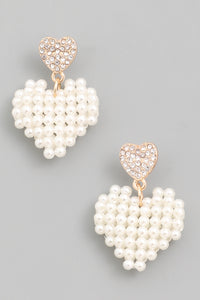 Pearl Heart Drop Earrings - Calisa's Closet